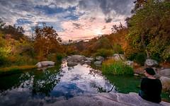 Sunset With Katy Mae (Calpastor) Tags: sunset valley river creek stream water hills lake fall color orange yellow clouds tulare visalia porterville springville california drought rain