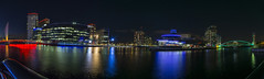Mediacity Panorama (l4ts) Tags: greatermanchester manchester salford salfordquays manchestershipcanal mediacity thelowry mediabridge milleniumbridge northbay thequays reflections panorama nightphotography longexposure