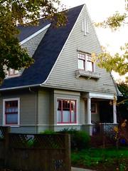 High Peaked Cottage, #24. (Melinda Stuart) Tags: house historic pitched peaked shingle classic dormer berkeley porch paint evening windows columns ca bayarea cottage