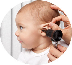 (payp59) Tags: person caucasian people baby 8monthsold medicalexam ear earinfection holding lookinginto otoscope doctor pediatrician profile health medical examroom hands stretching inserting