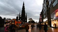 Princes St at dusk   Edinburgh  October 13  2016 (dave_attrill) Tags: princes st edinburgh night lights lit up scotland october 2016 scott monument dusk