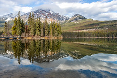 Pyramids Upon Pyramids (Kristin Repsher) Tags: alberta canada canadianrockies d750 jasper jaspernationalpark lake mountains nationalpark nikon pyramidisland pyramidlake pyramidmountain reflection rockies rockymountains