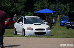 Floored wagon (Arturo Hurtado) Tags: subaru wrx sti fl4fest wisconsin madison midwest midwestmodified whips wcec wheels usa automotion outdoor import illest park hardparker slammed slow slowbaru lowered annual auto fitted fitment jdm lifestyle carshow cars clean car vehicles bagged neckbreakers meet