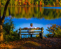 Relaxing (Daveyal_photostream) Tags: relaxing nikon nikor nature d600 saturation colorful meandmygear mygearandme mycamerabag motion movement autumn bench water lake reflection trees reflected anawesomeshot person people man serene outdoor ripples shadow leaf leaves fall seasons weatherlove calmwater serinty beauty beautiful