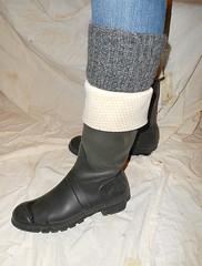 Green Hunters and socks (Lisban2009) Tags: wellies rubberboots gummistiefel foldedwellies turneddownwellies socks cracked creased