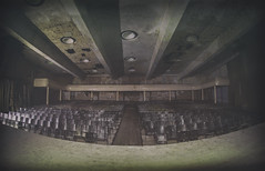 Theatre of War (Martyn.Smith.) Tags: urbex decay abandoned derelict theatre auditorium fisheye lens samyang seats stage abandonment military flightschool germany decaying canon eos 700d flickr image photo abandonedmilitarybase samyangfisheyelens urbanexploring