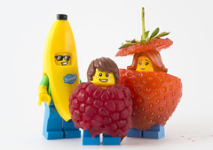 Family Portrait (tomtommilton) Tags: lego legography toy toyphotography toyart banana minifigure minifigures fruit food fancydress costume strawberry raspberry family portrait macro