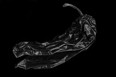 Reflecting On A Chili Pepper In Black And White (Bill Gracey) Tags: chilipepper shapes shadows shadowshapes blackbackground blackandwhite blancoynegro noiretblanc wrinkles mirror reflection highcontrast yn560iii yongnuorf603n food vegetable macrolens softbox filllight