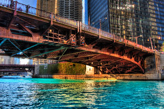 Chicago River dyed blue for Cubs World Series championship parade (Wabash Bridge) (spudart) Tags: 2016 2016cubsparade 2016worldseries 300northstatestreet 60610 bertrandgoldbergassociates blueriver chicago chicagocubs chicagoriver chicagoriverdyedblue cubs hdr highdynamicrange highdynamicrangephotography illinois marinacity nearnorthside usa wabashavenue wabashbridge worldseries bluedye bluedyedchicagoriver bride building built1967 chicgoriver corncobbtowers corncobbs downtown river round skyscraper twintowers water