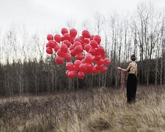 Anonymous Portrait (Keiran Foster) Tags: balloons balloon red hill landscape dress model girl conceptual fine back female calgary yyc portrait
