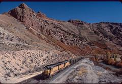 Westbound at Devils Slide, UT, October 5, 1985 (blair.kooistra) Tags: unionpacific gp30 parkcity webercanyon ogden echo utah utahrailroads branchlinerailroads