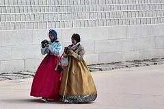 Anachronism (Robert Borden) Tags: asia world korea seoul historic costume women camera nikon canon color texture outside