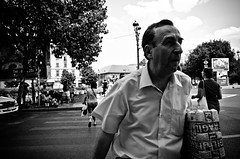_DSC7380 (stimpsonjake) Tags: nikoncoolpixa 185mm streetphotography bucharest romania city candid blackandwhite bw monochrome oldman package hurry