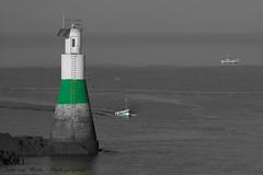 La petite muette (Oric1) Tags: bretagne brittany breizh landscape paysage mer sea manche dsaturation partielle boat bateau bw nb 70d eos vert green l