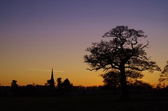 Frosty sunset (Sundornvic) Tags: church sunset leaton shropshire sky clear frost tree silhouette trails cloudsstormssunsetssunrises