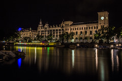Poststelle auf Zrich (gseglenieks) Tags: switzerland zurich night lights river water boats colour color longexposure long exposure dark reflection clock tower architecture europe european colourful colorful