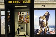 TELEPHONE (stevedexteruk) Tags: street london beach sex john advertising cards phone box circus telephone prostitute bikini oxford surfboard kiosk princes hm gisele 2014 bundchen billoard johnprincesstreet