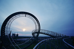 Roller coaster ride (generalstussner) Tags: sunset sky art industry film analog canon artistic roller duisburg coaster industrie ultrawideangle landmarke tigerturtle 5dmarkiii