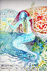 Art in Stöðvarfjörður - meremaid (roomman) Tags: blue anna woman fish art girl lady port painting hair naked island design coast town iceland graphics long paint gallery factory village harbour style east region maid eastcoast 2014 fishfactory stöðvarfjörður meremaid