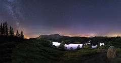 Tarn Hows by night (James Rushforth) Tags: travel light lake night way stars landscape photography star district north adventure pollution cumbria tarn milky cosmos startrail