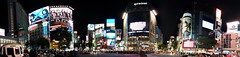 Shibuya at night (panorama 1) (tripu) Tags: street city light summer people panorama building station sign mobile japan architecture night tokyo cityscape crossing phone crowd shibuya august panoramic busy smartphone rainy advert stitched citycentre luffy nexus 2014 nexus5