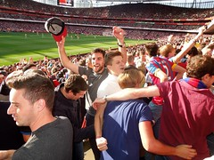 Crystal Palace supporters at Arsenal (2014/15 Season) (Paul-M-Wright) Tags: uk england london football crystal stadium soccer august palace emirates v match 16 fans fc premier arsenal league supporters afc 2014 cpfc