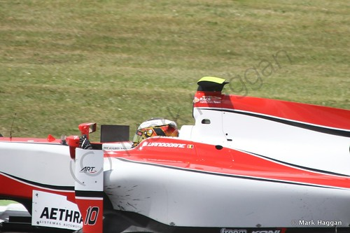 Stoffel Vandoorne in his ART Grand Prix car during GP2 practice at the 2014 British Grand Prix