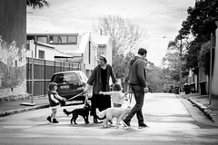 Saturday afternoon walk (Salle-Ann) Tags: street family urban bw pets dogs children photography parents blackwhite hand walk