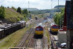 A trio of 60's at Peak Forest, 19th Aug 2014. (Dave Wragg) Tags: diesel railway loco locomotive tug ews class60 peakforest 60062 60001 dbschenker 60045