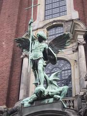 Archangel Michael conquers the devil (quinet) Tags: church statue germany hamburg kirche devil diablo stmichael église 2012 diable teufel