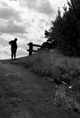 silhouette (Elxir) Tags: trees shadow sky people blackandwhite man grass silhouette clouds fence way reading quebec saguenay fjorddusaguenay parcnationaldusaguenay