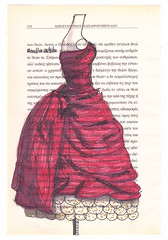 Nice Dress (roulla petalouda) Tags: colour handmade drawings markers scetches bookpages vintagepages