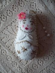 Matryoshka (Josie *) Tags: flowers texture wool beads doll handmade lace material handsewn handstitched matryoshka russiandoll nestingdoll bagcharm matryoshkadoll babushkadoll ownpattern