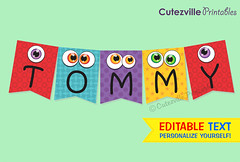 Personalized Monster Bunting Banner - PDF Printable (Cutezville Printables) Tags: birthday blue decorations red party cute monster yellow kids digital paper fun idea design diy eyes message purple drawing text craft file card elements download monsters pdf etsy build ideas making yourself development template edit eyeballs papermaking personalize cardstock printable cutesville changeable editable personalise papergoods funideas cuteideas paperelements cutezville