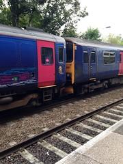 FGW 150921+153318. (ash.ash749) Tags: pink blue light white color reflection yellow train track br diesel 150 multiple britishrail firstgreatwestern 153 livery sprinter dmu brel fgw 153318 150921 2u28