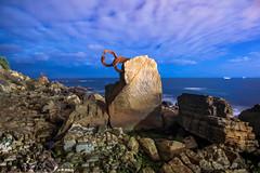 NIGHT TALK (Rober1000x) Tags: longexposure sea summer sculpture cliff beach night spain europa europe escultura espana verano bluehour sansebastian rocas paisvasco chillida paysbasque 2014 eduardochillida