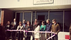 Trey Broome participated in Leadership Catawba. His team's project was to help refresh the Purple Ribbon Thrift store. Here, Trey and his fellow teammates prepare to cut their grand reopening ribbon.