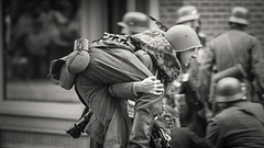 World War II Reenactment (SauceyJack) Tags: camp blackandwhite bw history monochrome soldier blackwhite illinois war uniform gun cosplay military nazi wwii ss monochromatic september il ill worldwarii german actor guns reenactment troops officer axis reenactors rockford reenact allies 2014 portray axispowers lr5 midwayvillagemuseum lightroom5 canon1dx 7020028isiil sauceyjack midwayvillagehistorymuseum