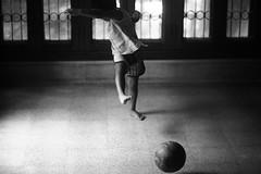 el shot (N A Y E E M) Tags: umar kalam son football kick shoot today morning veranda 1stfloor home rabiarahmanlane chittagong bangladesh sooc raw unedited untouched unposed availablelight indoors light bokeh lulu