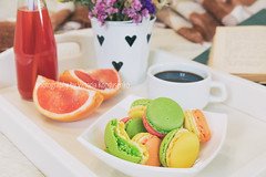 Breakfast in bed with hot coffee and macaroons (victoria.kondysenko) Tags: bed breakfast hotel detail closeup meal tray diet coffee beverage drink cup cookie morning tea biscuit walnut lifestyle healthy home juice wooden bedroom food eating macaroon hot grapefruit toned books flower