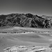 Tucki Mountain and a View Across the Mesquite Flat Sand Dunes (Black & White, Death Valley National Park)