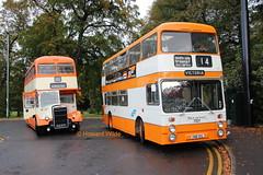 Preserved GMT 5871 (KJA 871F), Selnec 7001 (VNB 101L) (SelmerOrSelnec) Tags: preserved leyland titan pd3 eastlancs kja871f atlantean parkroyal vnb101l gmt selnec bigorange runningday museumoftransport gmts bus manchester bury prestwich thewoodthorpe