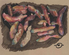 Fingerling potatoes gone wild (Marcia Milner-Brage) Tags: inktober inktober2016 stilllife food vegetables mixedmedia inkbrushpen waxpastels marciamilnerbrage santafe newmexico neocolor