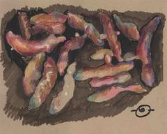 Fingerling potatoes gone wild (Marcia Milner-Brage) Tags: inktober inktober2016 stilllife food vegetables mixedmedia inkbrushpen waxpastels marciamilnerbrage santafe newmexico neocolor