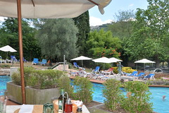 Captain's Terrace restaurant (Hotel Montecatini Terme) Tags: outdoorrestaurant swimmingpool hill olive oil