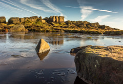 Somebody had to break the ice. (Ian Emerson) Tags: ice frozen pond pool water rocks scenic scenery outdoor clouds sky landscape canon doxyspool staffordshire theroaches reflection