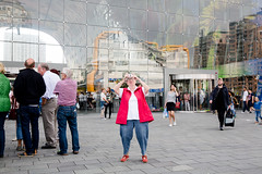 (Peter de Krom) Tags: rotterdam markthal photo moment tourists tourist camera trousers woman square blaak