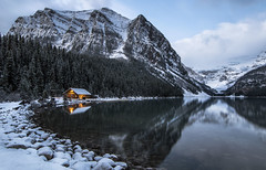 Cold Morning in Lake Louise (corybeatty) Tags: canada nature landscape nikon banff lake louise sunrise morning trees winter autumn snow light cabin house water national park cloud blue