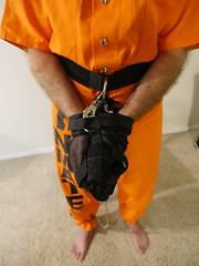 P1020802 (boblaly) Tags: prison prisoner handcuffs handcuffed chain cuffed cuffs chained chains convict locked secure shackled shackles padlock belly belt tubes restraints restrained arrested arrest uniform jumpsuit detention inmate jail
