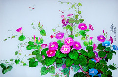 Volubilis - Choe Hye Gyong, Pang Suk Yong - Broderie (nokoredstar) Tags: aquarelle peinture coréedunord pyongyang paysage broderie